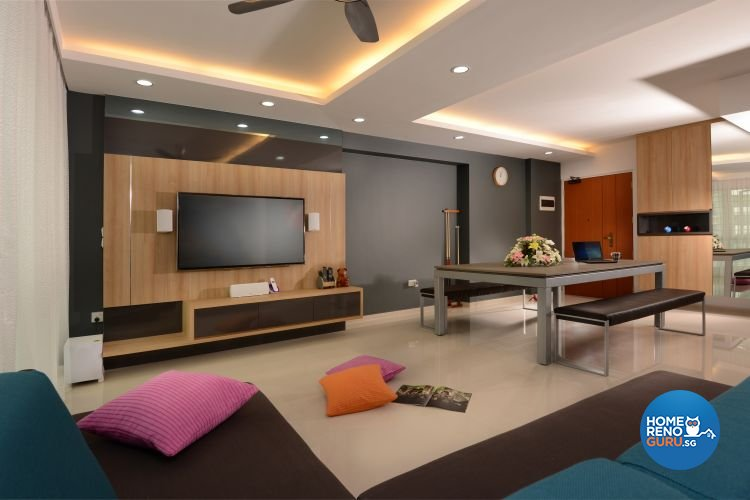 Contemporary, Modern Design - Living Room - HDB 5 Room - Design by Meter Square Pte Ltd