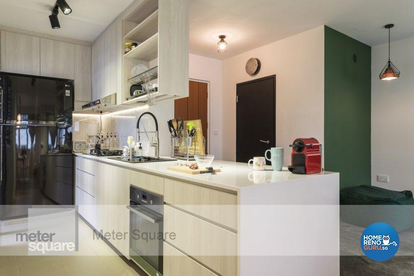 Modern, Vintage Design - Kitchen - HDB 3 Room - Design by Meter Square Pte Ltd