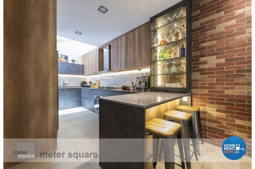 Industrial, Retro, Vintage Design - Kitchen - Condominium - Design by Meter Square Pte Ltd