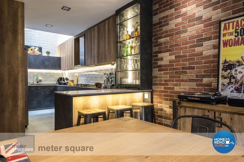 Industrial, Retro, Vintage Design - Dining Room - Condominium - Design by Meter Square Pte Ltd