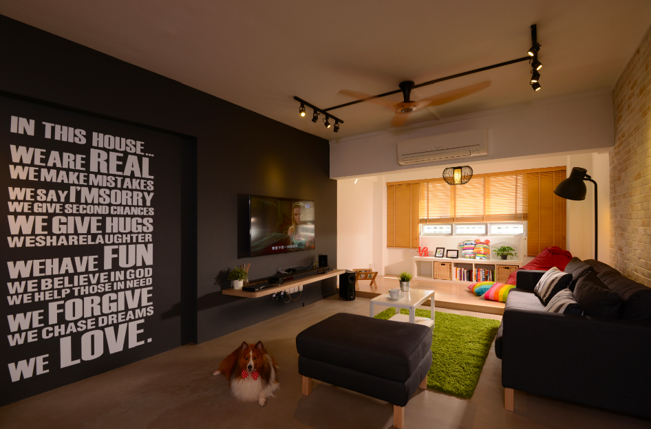 Contemporary, Industrial, Modern Design - Living Room - HDB Executive Apartment - Design by Meter Square Pte Ltd