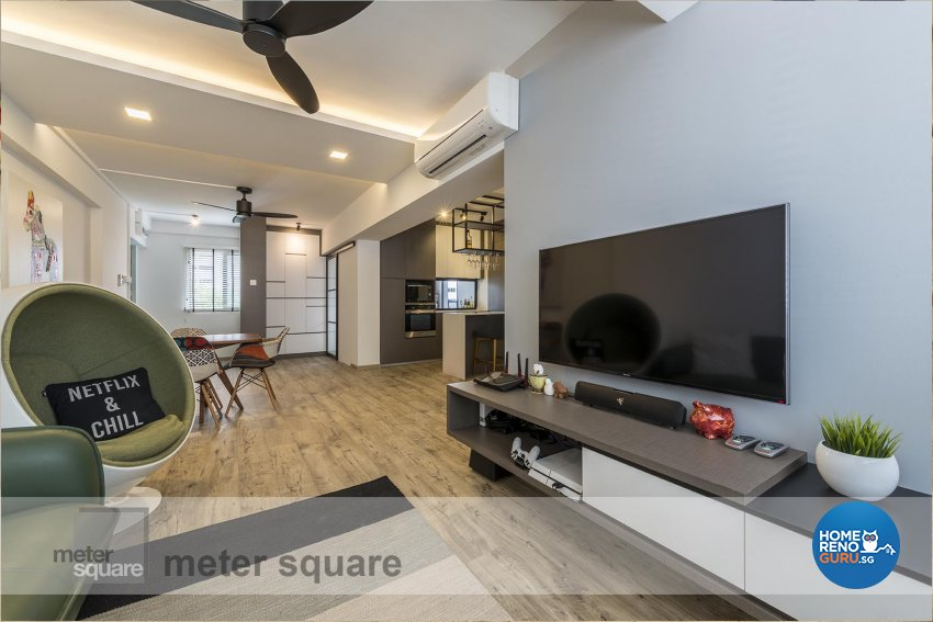 Contemporary Design - Living Room - HDB 5 Room - Design by Meter Square Pte Ltd