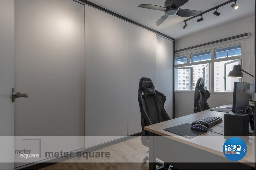 Industrial, Scandinavian Design - Study Room - HDB 5 Room - Design by Meter Square Pte Ltd