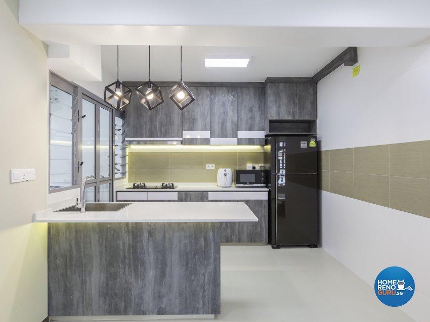 Modern Design - Kitchen - HDB 4 Room - Design by MJS Interior Pte Ltd