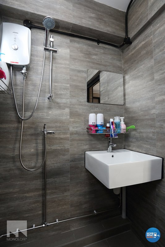 Industrial, Modern Design - Bathroom - HDB 3 Room - Design by MONOLOFT
