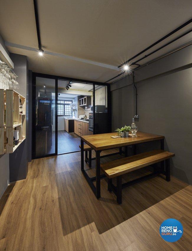 Industrial, Rustic Design - Dining Room - HDB 3 Room - Design by New Interior Design