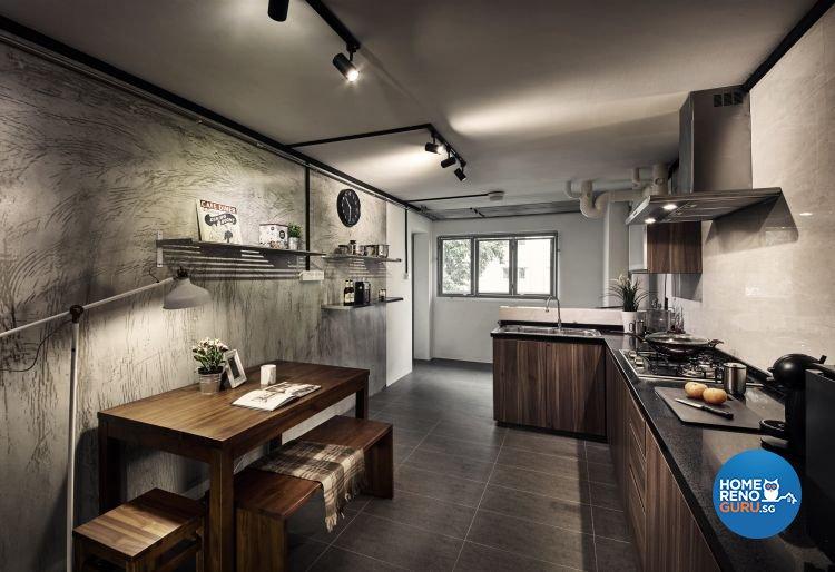 Industrial, Minimalist Design - Kitchen - HDB Executive Apartment - Design by New Interior Design