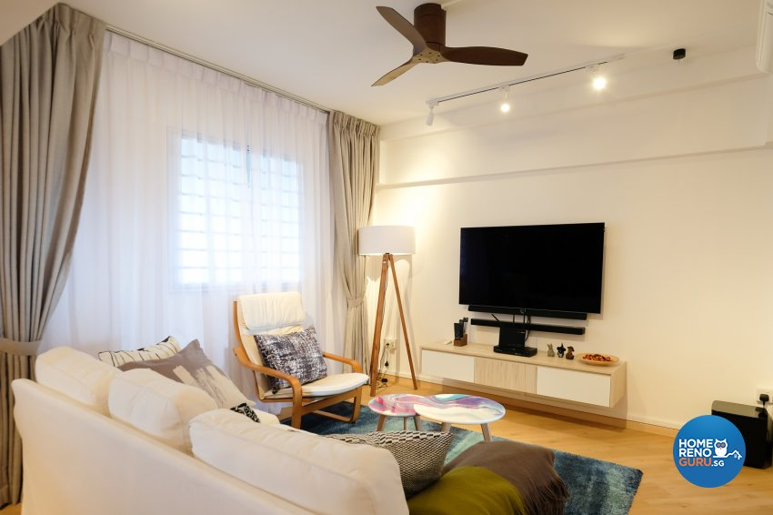 Contemporary, Eclectic, Modern Design - Living Room - HDB 4 Room - Design by Nitty Gritty Interior Pte Ltd