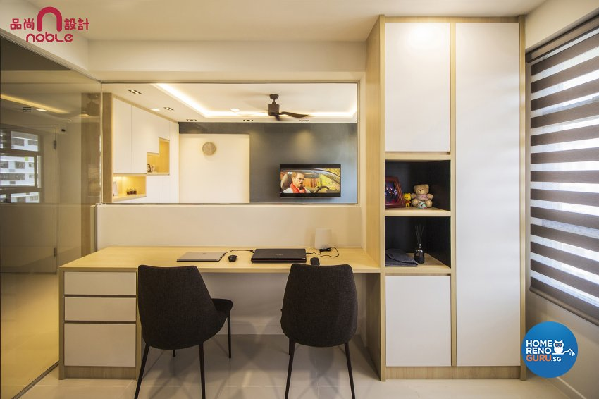 Contemporary, Modern Design - Study Room - HDB 4 Room - Design by Noble Interior Design Pte Ltd