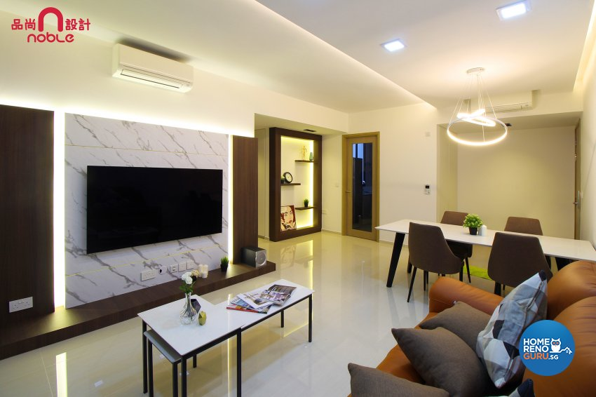 Contemporary, Modern Design - Living Room - HDB Executive Apartment - Design by Noble Interior Design Pte Ltd