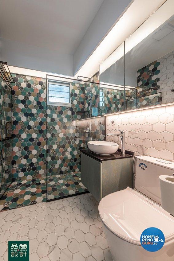 Scandinavian Design - Bathroom - HDB 4 Room - Design by Noble Interior Design Pte Ltd