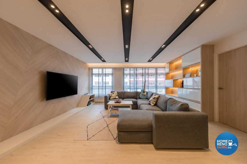 Modern, Scandinavian Design - Living Room - HDB 5 Room - Design by Noble Interior Design Pte Ltd