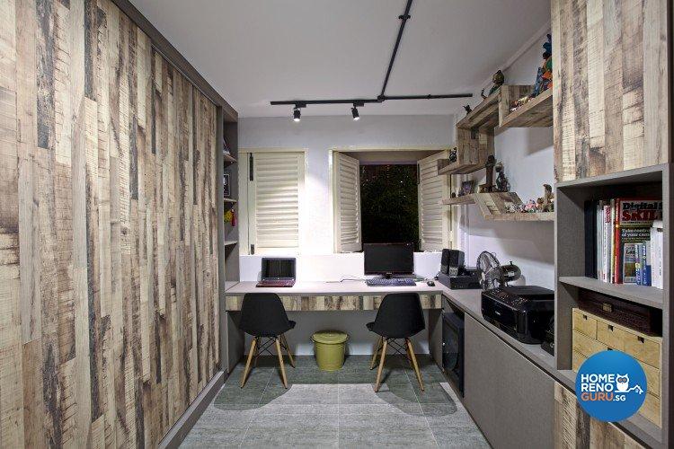 Industrial, Scandinavian Design - Study Room - HDB 3 Room - Design by NorthWest Interior Design Pte Ltd