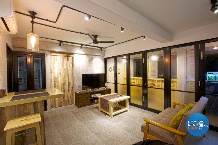 Industrial, Scandinavian Design - Living Room - HDB 3 Room - Design by NorthWest Interior Design Pte Ltd