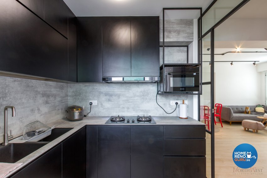 Industrial, Rustic Design - Kitchen - HDB 3 Room - Design by NorthWest Interior Design Pte Ltd