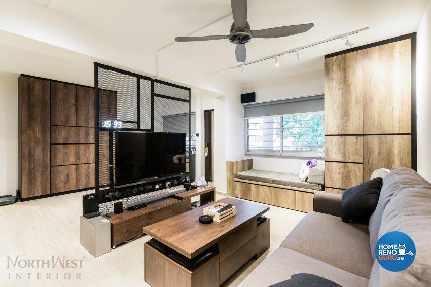 Contemporary, Industrial Design - Living Room - HDB 4 Room - Design by NorthWest Interior Design Pte Ltd