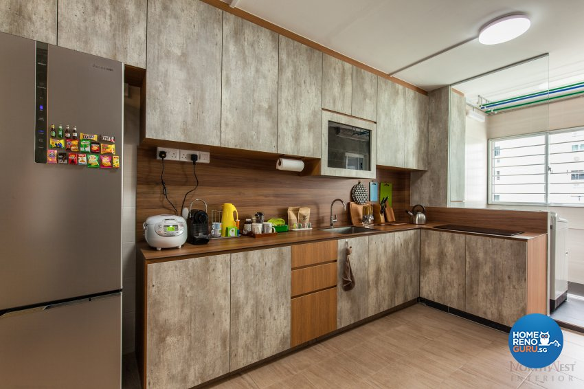 Industrial, Rustic Design - Kitchen - HDB 4 Room - Design by NorthWest Interior Design Pte Ltd