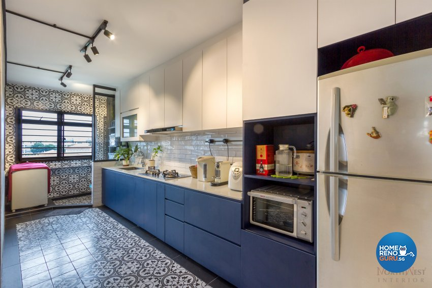 Industrial, Mediterranean Design - Kitchen - HDB 4 Room - Design by NorthWest Interior Design Pte Ltd