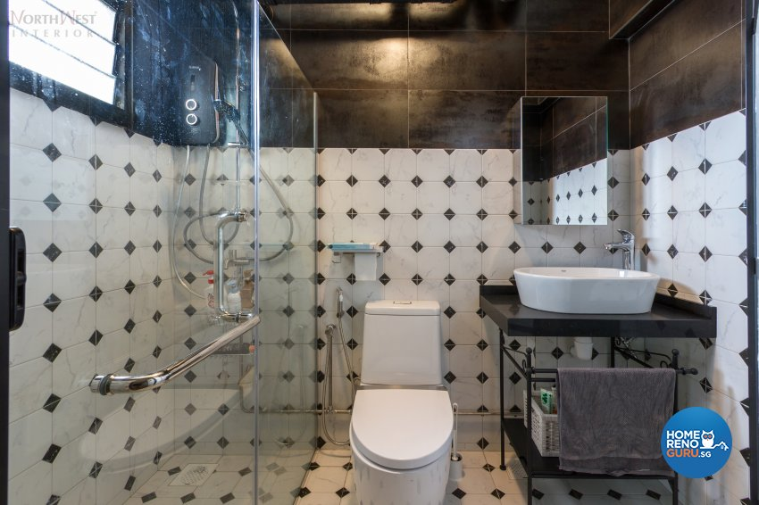 Industrial, Mediterranean Design - Bathroom - HDB 4 Room - Design by NorthWest Interior Design Pte Ltd