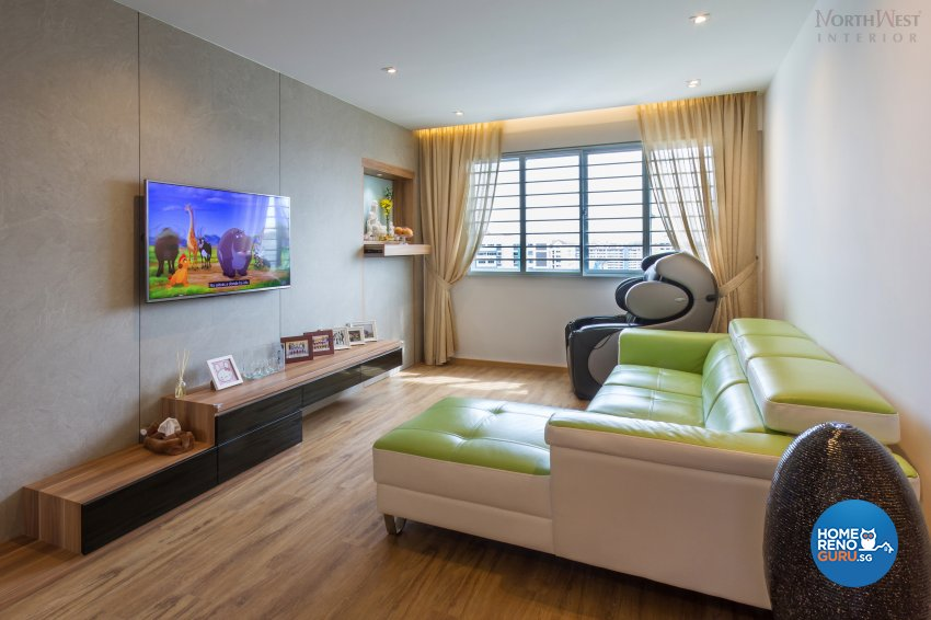 Eclectic, Modern, Retro Design - Living Room - HDB 4 Room - Design by NorthWest Interior Design Pte Ltd