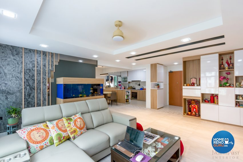 Contemporary, Resort Design - Living Room - HDB 5 Room - Design by NorthWest Interior Design Pte Ltd