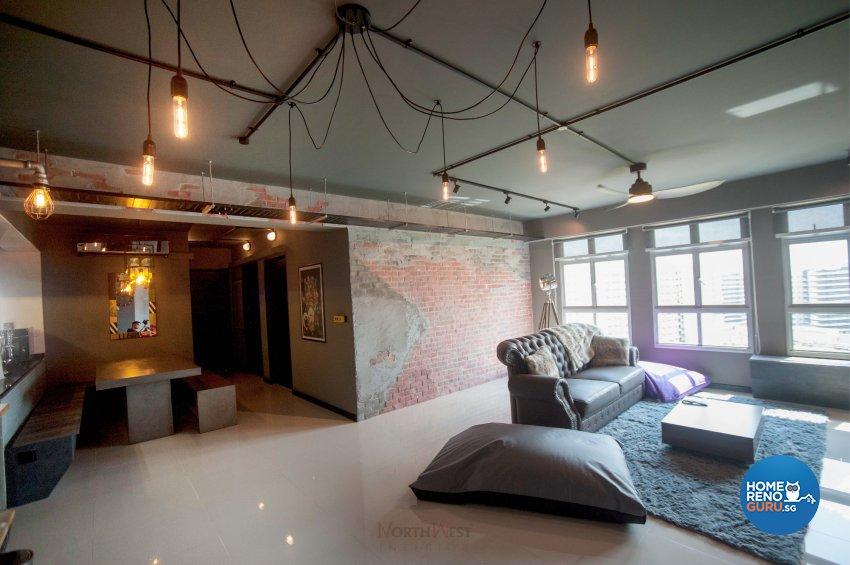 Industrial Design - Living Room - HDB 5 Room - Design by NorthWest Interior Design Pte Ltd