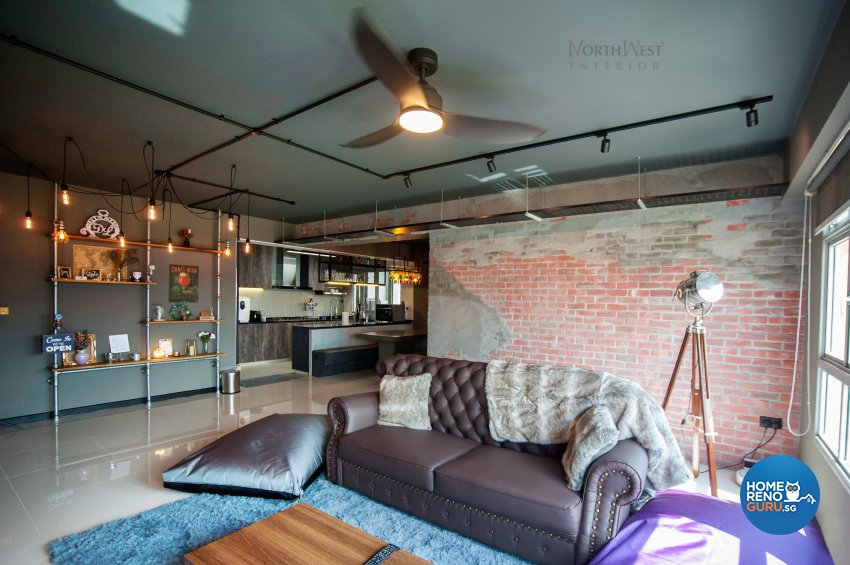 Industrial Design - Living Room - HDB 5 Room - Design by NorthWest Interior Design Pte Ltd
