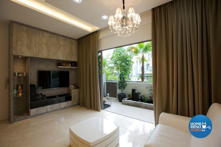 Contemporary, Rustic Design - Living Room - Landed House - Design by NorthWest Interior Design Pte Ltd