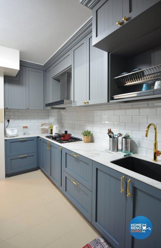 Country Design - Kitchen - HDB 4 Room - Design by Palmwood Pte Ltd