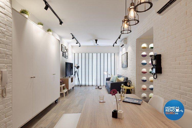 Industrial, Minimalist, Retro Design - Living Room - Condominium - Design by Posh Home Holding Pte Ltd