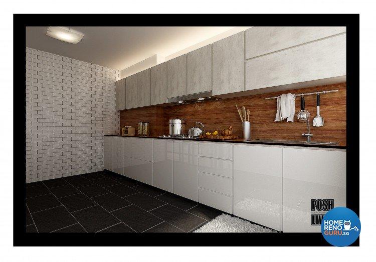 Country, Scandinavian Design - Kitchen - HDB 5 Room - Design by Posh Living Interior Design Pte Ltd