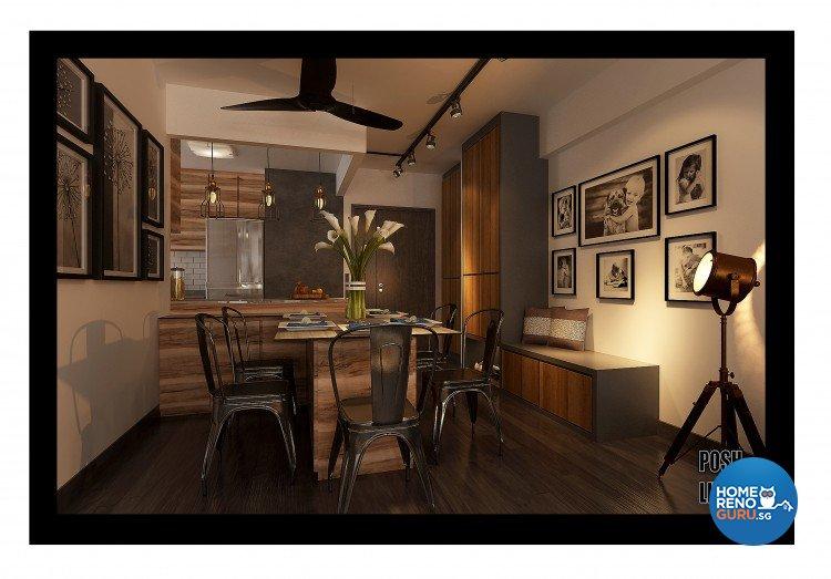 Industrial, Modern, Resort Design - Dining Room - HDB 5 Room - Design by Posh Living Interior Design Pte Ltd
