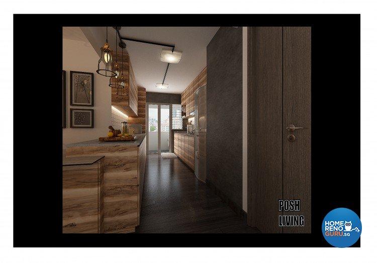 Industrial, Modern, Resort Design - Kitchen - HDB 5 Room - Design by Posh Living Interior Design Pte Ltd