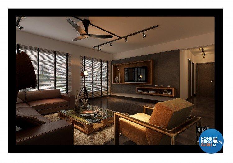 Industrial, Modern, Resort Design - Living Room - HDB 5 Room - Design by Posh Living Interior Design Pte Ltd