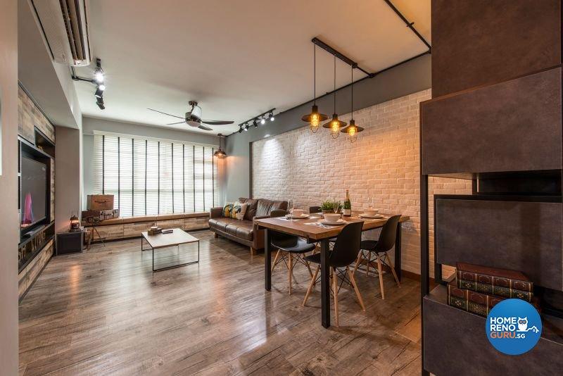 Industrial, Rustic Design - Living Room - HDB 4 Room - Design by Posh Living Interior Design Pte Ltd