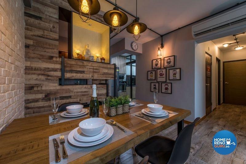 Industrial, Rustic Design - Dining Room - HDB 4 Room - Design by Posh Living Interior Design Pte Ltd