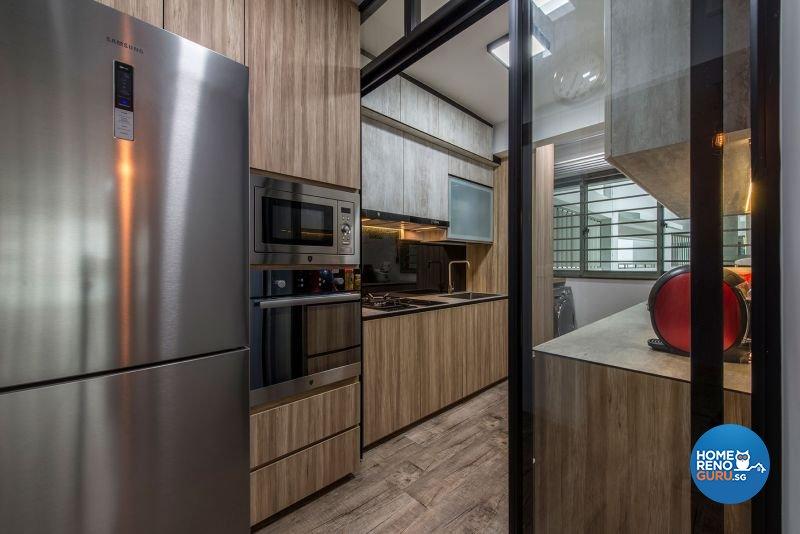 Industrial, Rustic Design - Kitchen - HDB 4 Room - Design by Posh Living Interior Design Pte Ltd