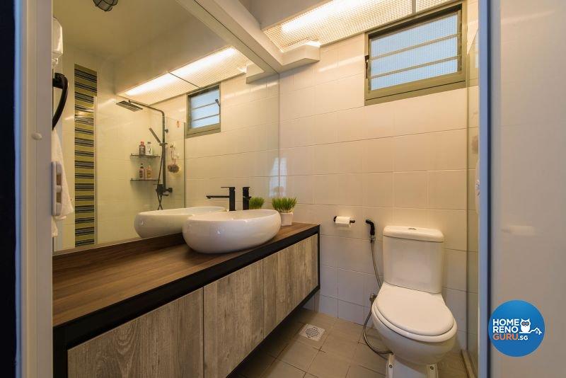 Industrial, Rustic Design - Bathroom - HDB 4 Room - Design by Posh Living Interior Design Pte Ltd