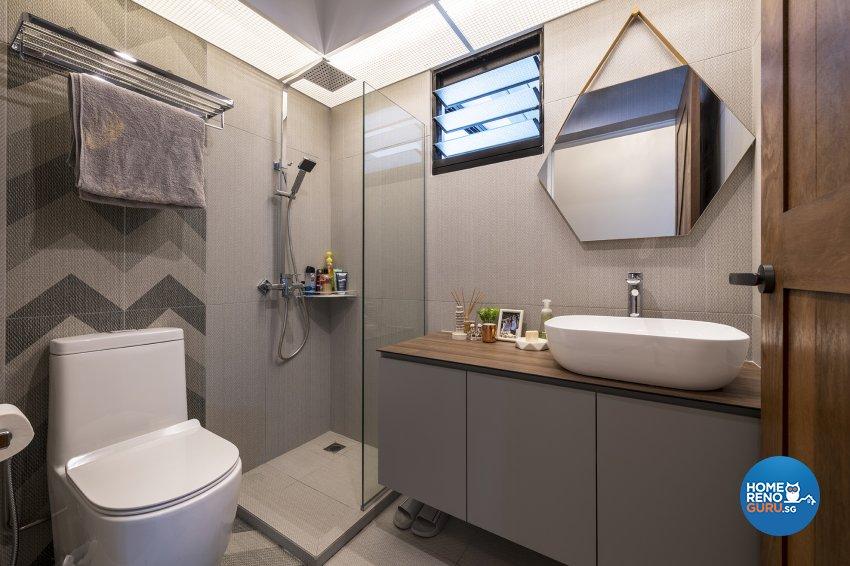 Industrial, Retro, Rustic Design - Bathroom - HDB 5 Room - Design by Posh Living Interior Design Pte Ltd