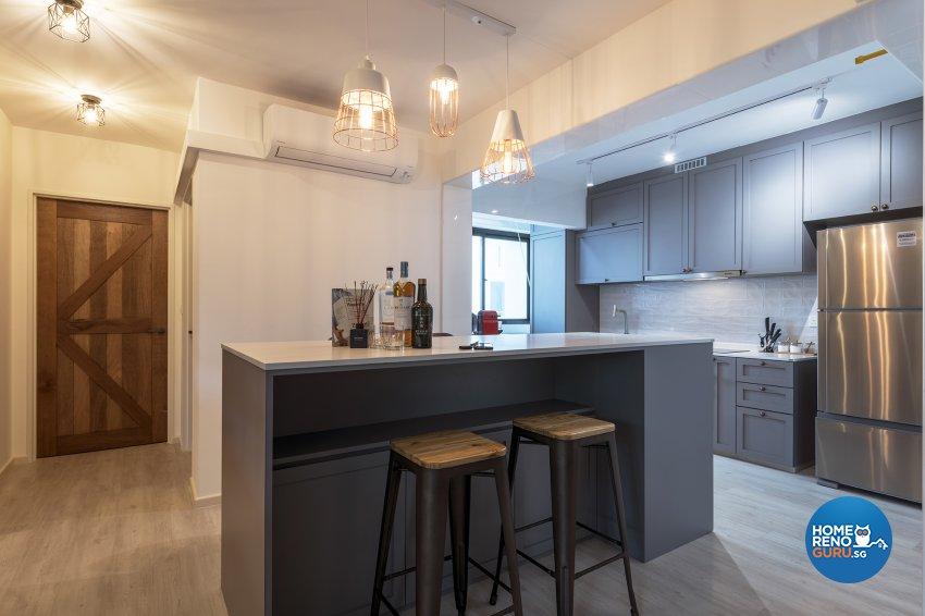Industrial, Retro, Rustic Design - Kitchen - HDB 5 Room - Design by Posh Living Interior Design Pte Ltd