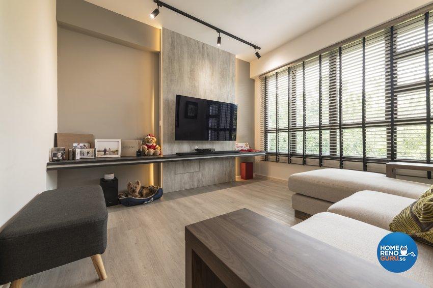 Industrial, Retro, Rustic Design - Living Room - HDB 5 Room - Design by Posh Living Interior Design Pte Ltd