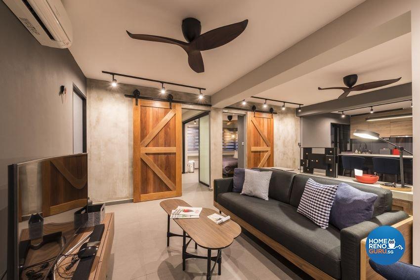Industrial, Minimalist, Rustic Design - Living Room - HDB 4 Room - Design by Posh Living Interior Design Pte Ltd