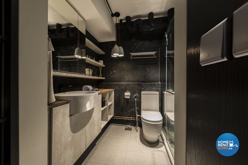 Industrial, Minimalist, Rustic Design - Bathroom - HDB 4 Room - Design by Posh Living Interior Design Pte Ltd