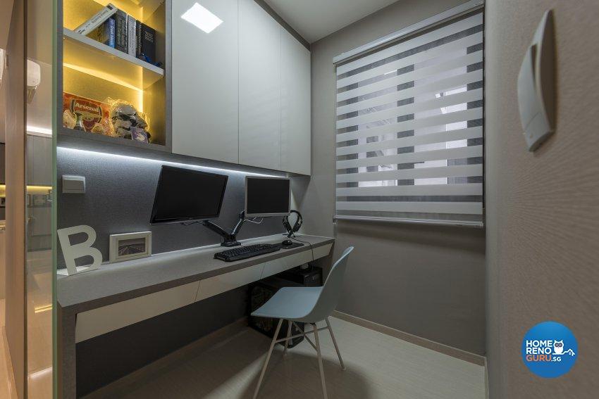 Classical, Contemporary, Victorian Design - Study Room - HDB Executive Apartment - Design by Posh Living Interior Design Pte Ltd