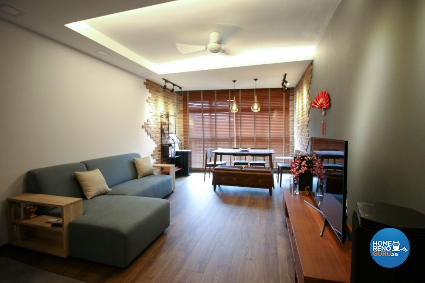Contemporary, Industrial, Modern Design - Living Room - HDB 4 Room - Design by Productions Pte Ltd