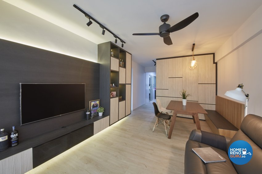 Contemporary, Modern Design - Living Room - HDB 4 Room - Design by Productions Pte Ltd