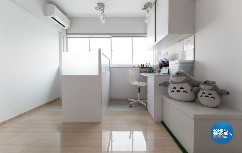 Minimalist, Modern Design - Study Room - HDB Executive Apartment - Design by Productions Pte Ltd