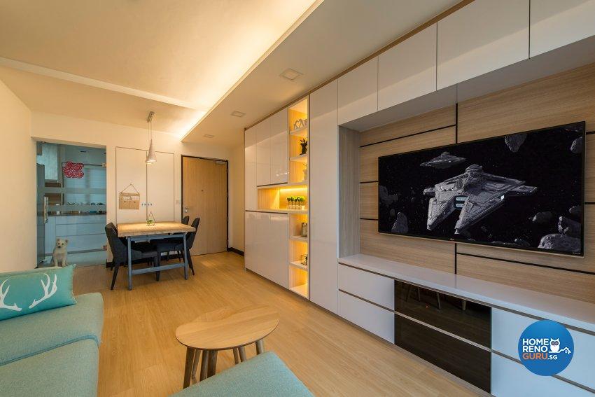 Modern, Scandinavian Design - Living Room - HDB 4 Room - Design by Projectguru Pte Ltd