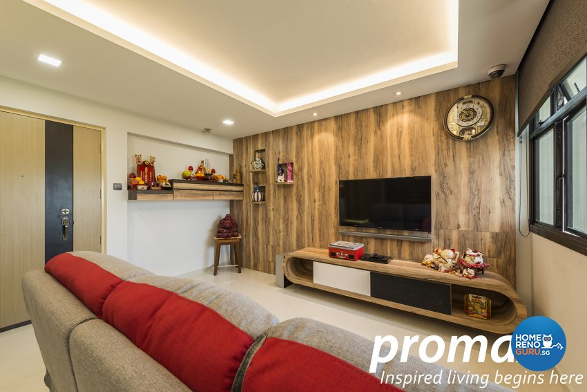 Resort Design - Living Room - HDB 4 Room - Design by Promax Design Pte Ltd