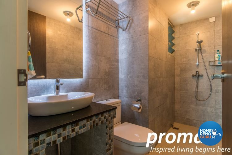 Industrial, Retro Design - Bathroom - HDB 4 Room - Design by Promax Design Pte Ltd